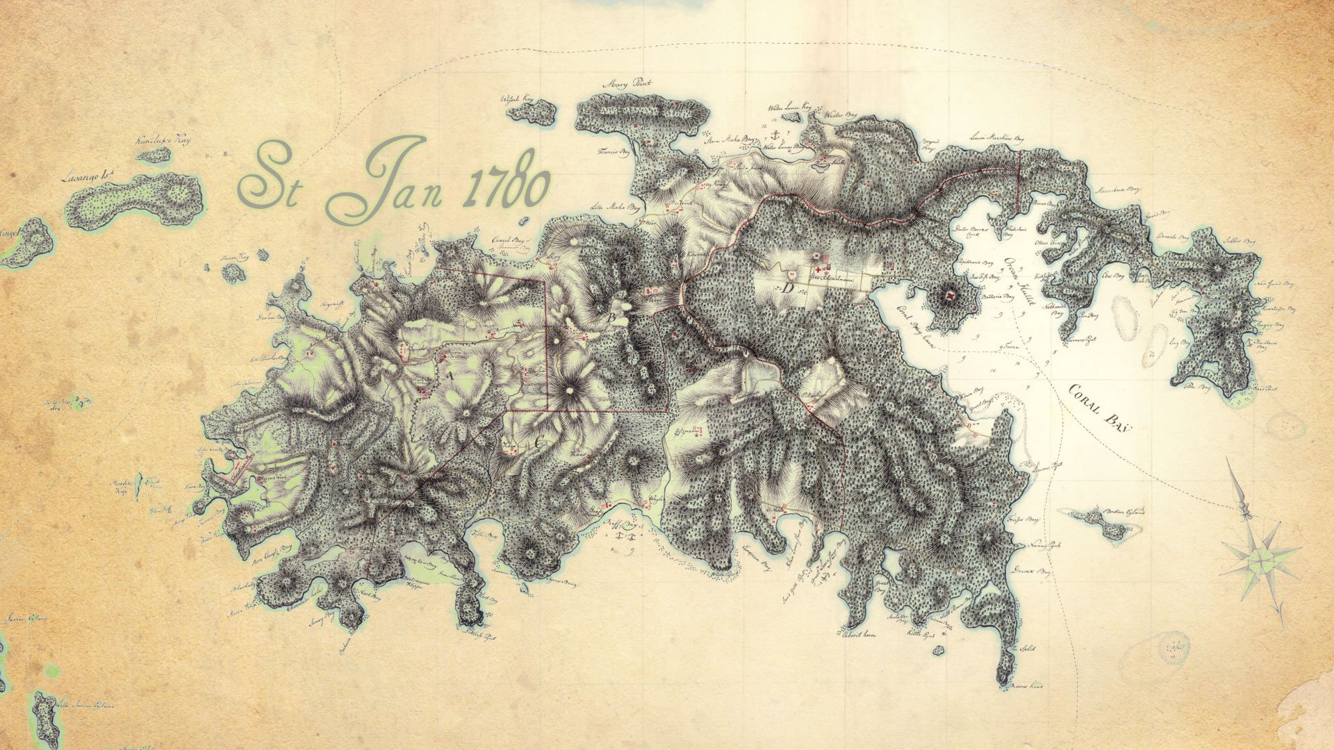 St John US Virgin Islands map 1780