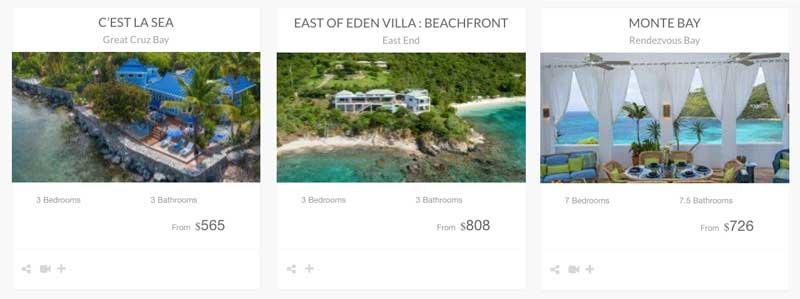 St John beachfront, waterfront, water access vacation rentals
