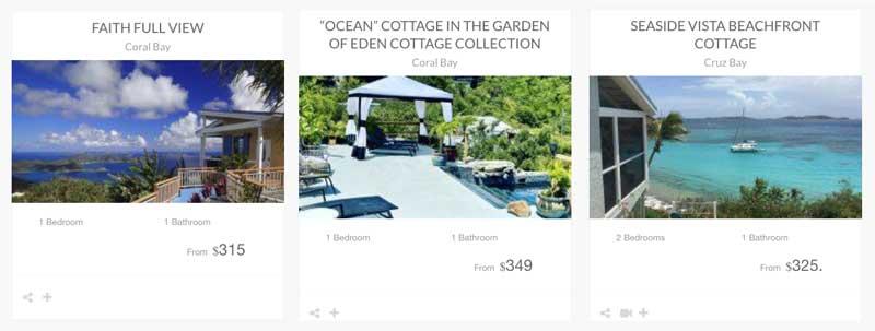St John island cottage vacation rentals